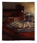 Steampunk - A Crusty Old Typewriter Fleece Blanket