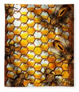 Steampunk - Apiary - The Hive Fleece Blanket