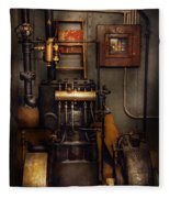 Steampunk - Back In The Engine Room Fleece Blanket