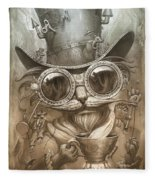 Steampunk Cat Fleece Blanket