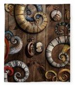 Steampunk - Clock - Time Machine Fleece Blanket