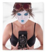 Steampunk Geisha Photographer II Fleece Blanket