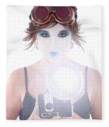 Steampunk Geisha Photographer Fleece Blanket