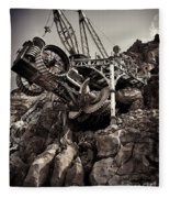 Steampunk Land Boring Machine At Disneysea Black And White Fleece Blanket