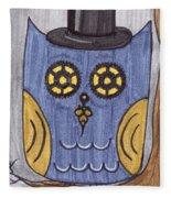 Steampunk Owl Fleece Blanket