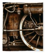 Steampunk- Wheels Of Vintage Steam Train Fleece Blanket