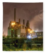 Steel Mill At Night Fleece Blanket
