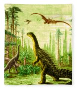 Stegosaurus And Compsognathus Dinosaurs Fleece Blanket