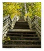 Step Trail In Woods 10 Fleece Blanket