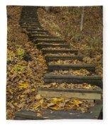 Step Trail In Woods 11 Fleece Blanket