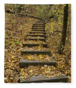Step Trail In Woods 14 Fleece Blanket