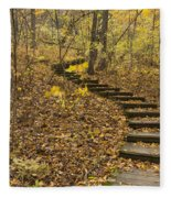 Step Trail In Woods 16 Fleece Blanket
