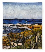 Steps To The Sea Abstract Fleece Blanket