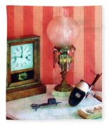 Stereopticon Lamp And Clock Fleece Blanket
