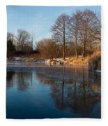 Still And Early - Icy Reflections With A Touch Of Snow Fleece Blanket