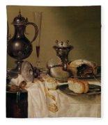 Still Life, 1642 Oil On Canvas Fleece Blanket
