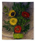 Still Life Ceramic Vase With Two Gerbera Daisy And Two Sunflowers Fleece Blanket