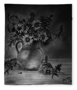 Still Life Clay Pitcher With 13 Daisies Fleece Blanket