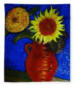 Still Life Clay Vase With Two Sunflowers Fleece Blanket