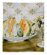 Still Life Of A Melon And A Vase Of Flowers Fleece Blanket