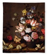 Still Life Of A Vase Of Flowers Fleece Blanket