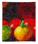 Still Life Tomatoes Fruits And Vegetables Fleece Blanket