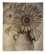 Still Life Two Sunflowers In A Clay Vase Fleece Blanket