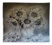Still Life - Vase With 6 Sunflowers Fleece Blanket