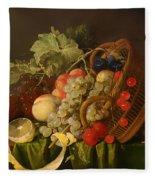 Still Life With A Basket Of Fruit Fleece Blanket