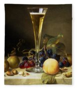 Still Life With A Glass Of Champagne Fleece Blanket