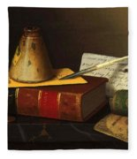 Still Life With A Writing Table Fleece Blanket