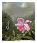 Still Life With An Orchid And A Pair Of Hummingbirds Fleece Blanket
