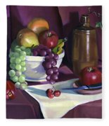 Still Life With Apples Fleece Blanket