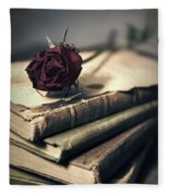 Still Life With Books And Dry Red Rose Fleece Blanket