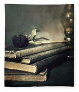 Still Life With Books And Roses Fleece Blanket
