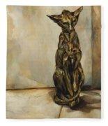 Still Life With Cat Sculpture Fleece Blanket