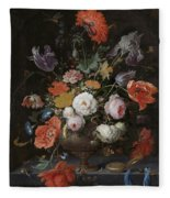 Still Life With Flowers And Watch Fleece Blanket