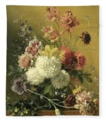 Still Life With Flowers Fleece Blanket