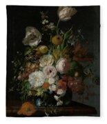Still Life With Flowers In Glass Vase Fleece Blanket