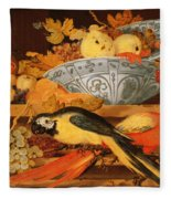 Still Life With Fruit And Macaws, 1622 Fleece Blanket