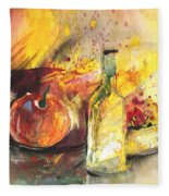 Still Life With Fruits And Flowers And Bottle Fleece Blanket