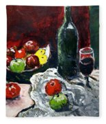 Still Life With Fruits And Wine Fleece Blanket