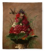 Still Life With Hummingbird Fleece Blanket