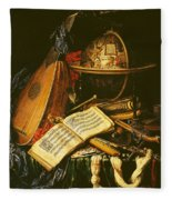 Still Life With Musical Instruments Oil On Canvas Fleece Blanket