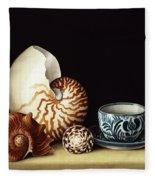 Still Life With Nautilus Fleece Blanket