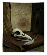 Still Life With Old Books Rusty Key Bird Skull And Feathers Fleece Blanket
