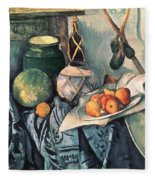 Still Life With Pitcher And Aubergines Oil On Canvas Fleece Blanket