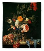 Still Life With Poppies And Roses Fleece Blanket