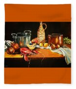 Still Life With Pots Fruit Etc. Fleece Blanket