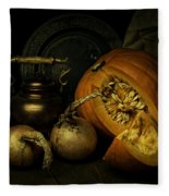 Still Life With Pumpkin And Onions Fleece Blanket